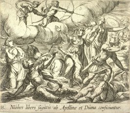 Niobes liberi sagittis ab Apolline et Diana conficiunter (The Death of Niobe's Children), pl. 55 from the series Ovid's Metamorphoses