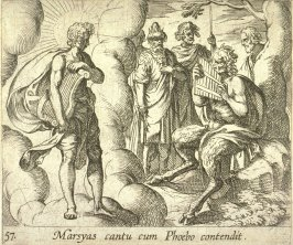 Marsyas cantu cum Phoebo contendit (Marsyas Playing His Pipes Before Apollo), pl. 57 from the series Ovid's Metamorphoses