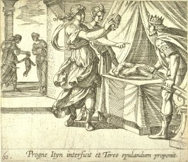 Progne Ityn interficit et Tereo epulandum proponit( Procne Revealing Itys's Head to Tereus), pl. 60 from the series Ovid's Metamorphoses