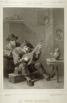 Le Vieux Musicien...(The Old Musician )...Fifty first plate in the book... [Title in Russian and French] Imperatorskaya Ermitazhnaya Galereya … Galérie Impériale de l'Ermitage (Saint Petersburg: Gohier Desfontaines, 1847)