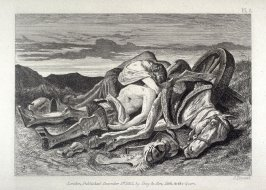 War and Glory, plate 3, accompanying the poems, War and Glory by Samuel Taylor Coleridge and The Battle -Field by Thomas Penrose, in the book, Passages from Modern English Poets Illustrated by the Junior Etching Club (London: Day & Son, 1861)