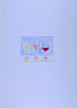 Three glasses of wine, plate opposite page 138 in the book The Physiology of Taste (San Francisco: The Arion Press, 1994)
