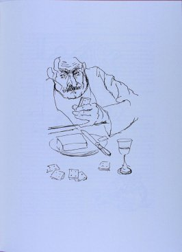Man with moustache eating, page 133 in the book The Physiology of Taste (San Francisco: The Arion Press, 1994)