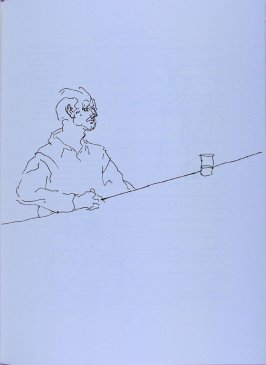 Man at bar with glass, page 113 in the book The Physiology of Taste (San Francisco: The Arion Press, 1994)
