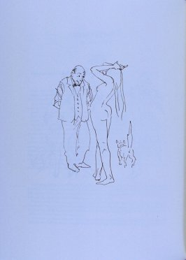 Man looking at nude, page 34 in the book The Physiology of Taste (San Francisco: The Arion Press, 1994)