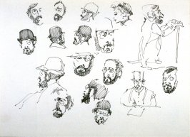 Recto: Untitled (17 Studies of Heads)
