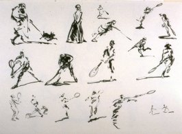 Recto: Untitled (Studies of Figures Engaged in Sports)