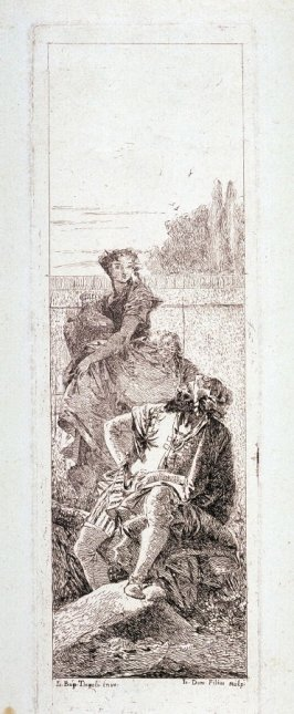 A Man Seated and a Woman Carrying a Vase