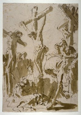 Recto: Crucifixion Verso: Figure Sketch (half figure of the crucified Christ)