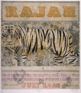 "Rajah (Poster announcing ""Now at the Hippodrome- The Beautiful Royal Tiger of India Performing his Breathtaking Leap through a ring of fire"")"