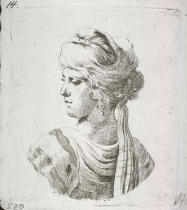 Bust of Woman in Oriental Dress, seen in profile from rear