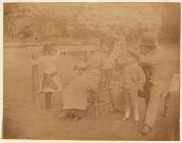 Lilian Hervey, Kathleen Newton, Cecil George Newton and Tissot (?) in the Garden
