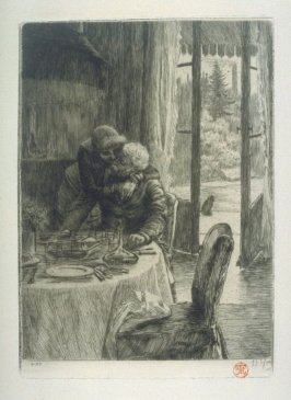 Renee Hugging Her Father As She Comes In To Breakfast, from Renee de Mauperin by E. and J. De Goncourt, Paris