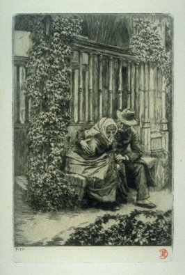 Renee and Her Father Sitting in The Perch of the Church at Morimund, from Renee de Mauperin by E. and J. De Goncourt, Paris