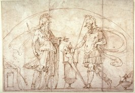 Two Warriors, design for a lunette