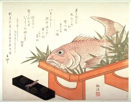 Lacquer Box and Sea Bream on a Ceremonial Stand