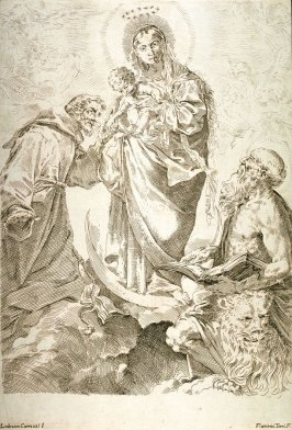 Madonna and Child in Glory with St. Francis and St. Jerome, after the painting by Ludovico Carracci, The Madonna degli Scalzi in the Pinacoteca Nazionale, Bologna