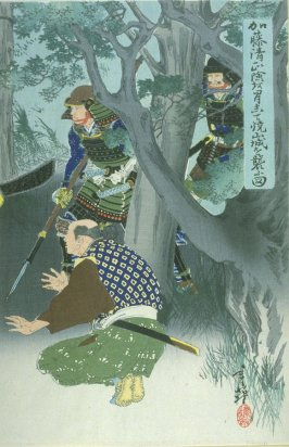 Kato Kiyomasa lifting a tree trunk (first in triptych)