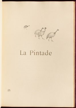 """La Pintade"" (the guinea-fowl) in the book Histoires naturelles (Natural History) by Jules Renard (Paris: Henri Floury, 1900)."