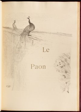 """Le Paon"" (the peacock) in the book Histoires naturelles (Natural History) by Jules Renard (Paris: Henri Floury, 1900)."