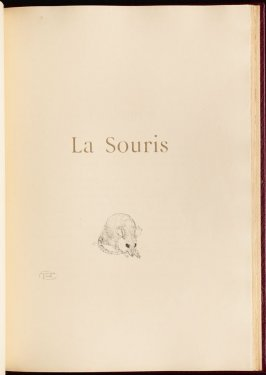 """La Souris"" (the mouse) in the book Histoires naturelles (Natural History) by Jules Renard (Paris: Henri Floury, 1900)."