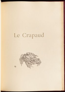 """Le Crapaud"" (the toad) in the book Histoires naturelles (Natural History) by Jules Renard (Paris: Henri Floury, 1900)."