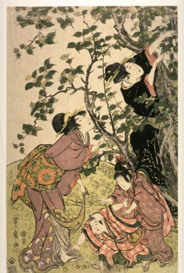 Women and Children by a Fruit Tree, left panel of a triptych of Fruit Gathering