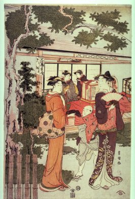 Women Visiting the Bird and Flower Tea House, panel from a triptych