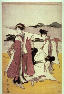 Three Women by the Slopes of Mt. Fuji, panel from a polyptych
