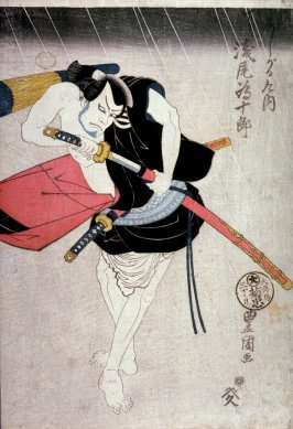 Asao Tamejuro as the Footman (ashigaru) Kunai, panel of a polyptych