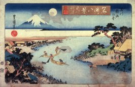 Autumn Moon on the Tama River, Net Fishing for Trout ( Tamagawa shugetsu tamagawa ayukumi no zu from the series Eght Views of Famous Places (Meisho hakkei)