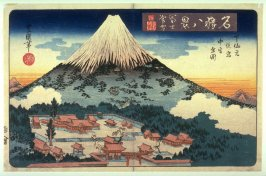 Evening Snow on Mt. Fuji, the Lower, Later, and Middle ShrInes (Fuji bosetsu shita sengen ato no miya haka no miye zen zu) , from the series Eight Views of Famous Shrines (Meisho hakkei)