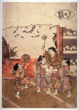 Childen with Pinwheel and Drum (Kan no Buntei), from the series Children's Games Reminiscent of the Twenty-four Paragons of Filial Devotion (Osana asobi nijushiko)