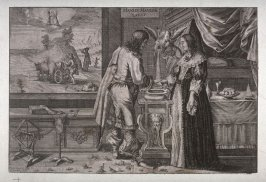 Cavalier and Lady plighting their troth before cupid