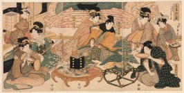 The Courtesan Takao Entertaining the Actors Sawamura Gennosuke and Iwai Kiyotarō at the Miuraya