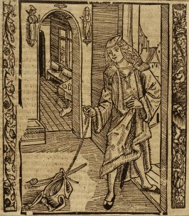 """Childish Fool: woodcut illustration for the original edition of the """"Narrenschiff"""" (Ship of Fools), taken from the Latin reprint edition Basel"""