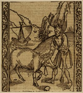 """Pig Fool: woodcut illustration for the original edition of the """"Narrenschiff"""" (Ship of Fools), taken from the Latin reprint edition Basel"""