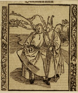 """Ear Whispering Fool: woodcut illustration for the original edition of the """"Narrenschiff"""" (Ship of Fools), taken from the Latin reprint edition Basel"""