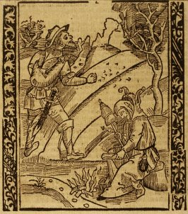 """Lazy Fool: woodcut illustration for the original edition of the """"Narrenschiff"""" (Ship of Fools), taken from the Latin reprint edition Basel"""