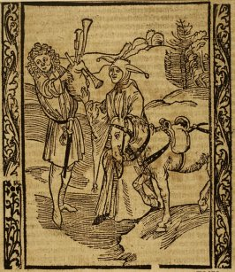 """Barter Fool: woodcut illustration for the original edition of the """"Narrenschiff"""" (Ship of Fools), taken from the Latin reprint edition Basel"""