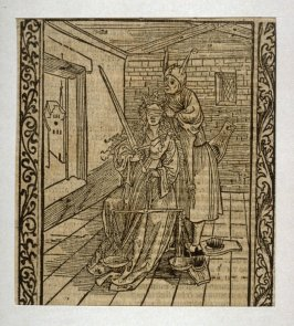 """Litigation Fool: woodcut illustration for the original edition of the """"Narrenschiff"""" (Ship of Fools), taken from the Latin reprint edition Basel"""