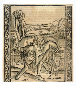 """The Fork Fool: woodcut illustration for the original edition of the """"Narrenschiff"""" (Ship of Fools), taken from the Latin reprint edition Basel"""