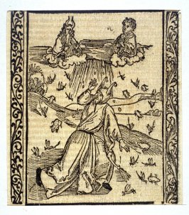 """Locust and Plague Fool: woodcut illustration for the original edition of the """"Narrenschiff"""" (Ship of Fools), taken from the Latin reprint edition Basel"""