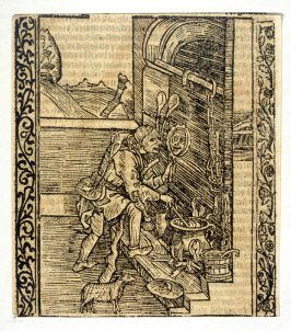 """Mirror Fool: woodcut illustration for the original edition of the """"Narrenschiff"""" (Ship of Fools), taken from the Latin reprint edition Basel"""