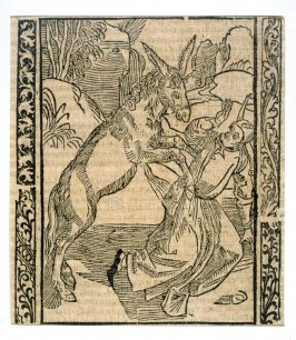 """The Suppressed Fool: woodcut illustration for the original edition of the """"Narrenschiff"""" (Ship of Fools), taken from the Latin reprint edition Basel"""