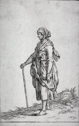 Old Woman walking to left with stick