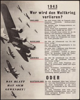 """Wer wird den Weltkrieg verlieren?"" (Who will lose the World War?), British propaganda leaflet tergeting Germany and occupied areas"