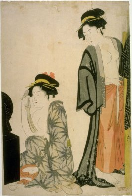 [Two women by a dressing table]