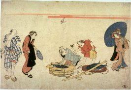 [Street scene with a fish seller cutting a binto]
