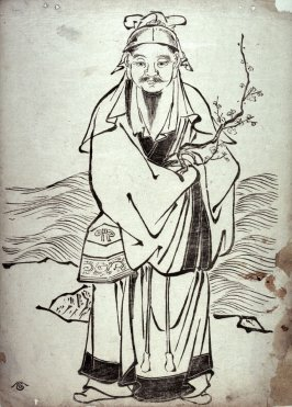 Sugawara no Michizane Holding a Plum Branch, from a series drawn in the Kano style